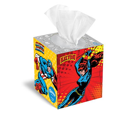 The Marvel Universe Tissue Box Designs from Kleenex®