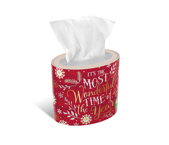 Red Kleenex® Holiday oval tissue box.