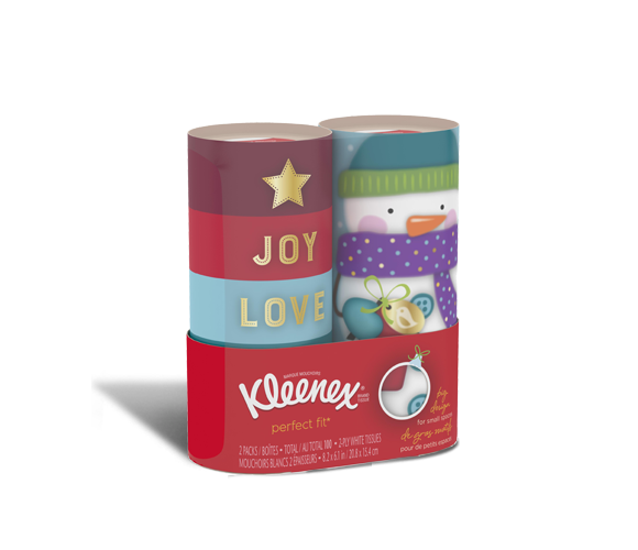 Kleenex® Perfect-Fit tissue boxes with holiday designs.