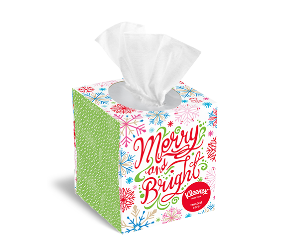 Colorful merry and bright Kleenex® holiday tissue box.