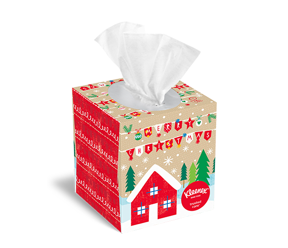 Merry Christmas upright tissue box from Kleenex®.