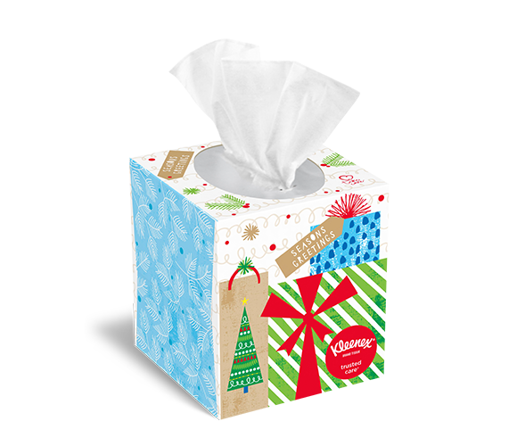 Seasons greetings holiday tissue box design by Kleenex®.