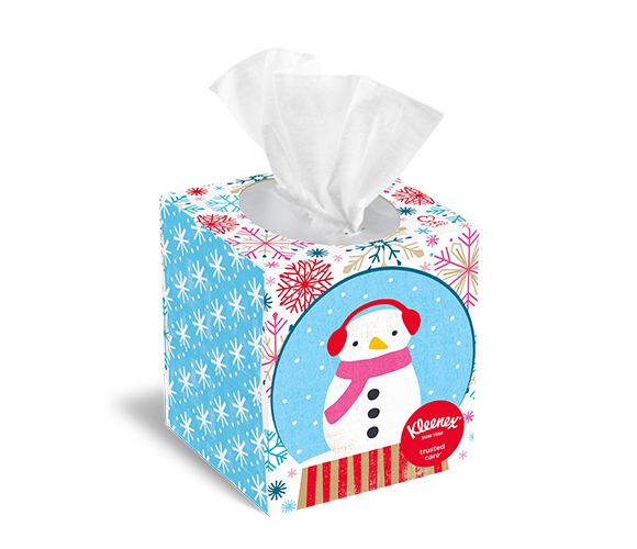 Snow man and snowflake tissue box designs from Kleenex®.