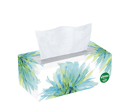 110 Count Flat Kleenex Soothing Lotion Facial Tissue Floral Box