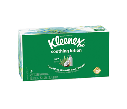 Bottom of 110 Count Flat Kleenex Soothing Lotion Facial Tissue Floral Box