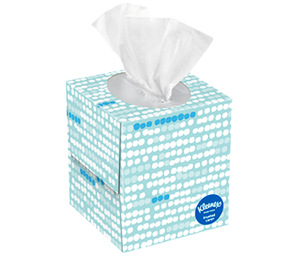 70 Count Kleenex Trusted Care Facial Tissue Spotted Box