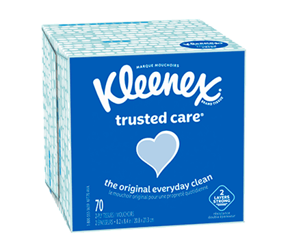 Bottom of 70 Count Kleenex Trusted Care Facial Tissue Spotted Box