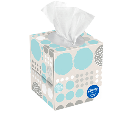 70 Count Kleenex Trusted Care Facial Tissue Polka Dot Box