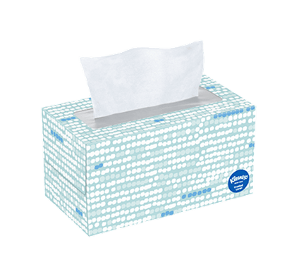 190 Count Flat Kleenex Trusted Care Facial Tissue Spotted Box