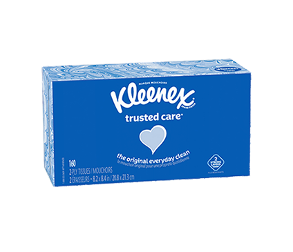 Bottom of 190 Count Flat Kleenex Trusted Care Facial Tissue Spotted Box