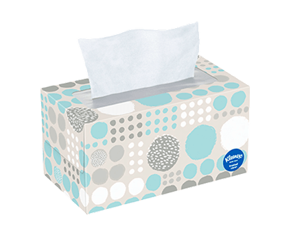190 Count Flat Kleenex Trusted Care Facial Tissue Polka Dot Box