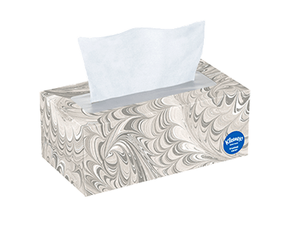 144 Count Flat Kleenex Trusted Care Facial Tissue Gray Swirl Box