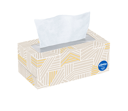 144 Count Flat Kleenex Trusted Care Facial Tissue Geometric Box