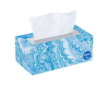 144 Count Flat Kleenex Trusted Care Facial Tissue Blue Swirl Box