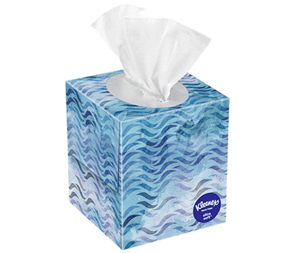 65 Count Kleenex Ultra Soft Facial Tissue Wavy Box