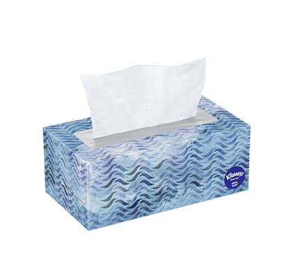 120 Count Flat Kleenex Ultra Soft Facial Tissue Wavy Box
