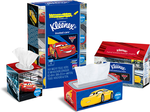 Collection of Disney Pixar's Cars 3 box designs from Kleenex.