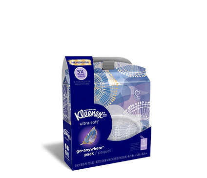 Kleenex Ultra Soft Go Anywhere single pack tray.