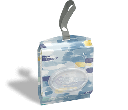Kleenex Ultra Soft Go Anywhere facial tissue pouch in blue and gold pattern.
