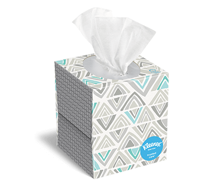 Kleenex® Trusted Care upright box 80 count finn 1
