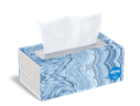 Kleenex® Trusted Care facial tissues come in flat cartons with colorful designs.