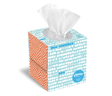 Kleenex® Trusted Care upright cartons come in different box designs.
