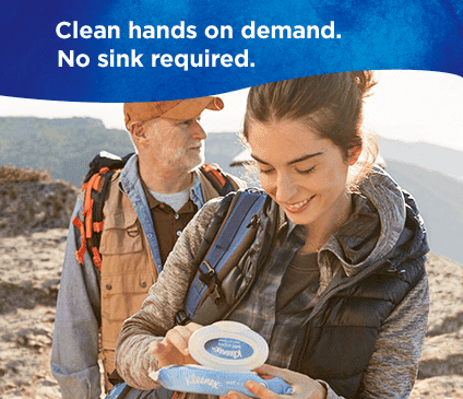 Gentle Clean Wet Wipes clean hands on demand with no sink required.