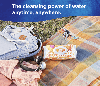 Kleenex wet wipes germ removal are perfect to quickly clean hands anywhere.