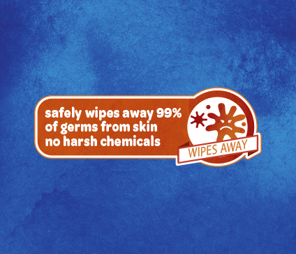 Kleenex Germ Removal Wet Wipes are free of harsh chemicals and safely clean 99 percent of germs from skin.