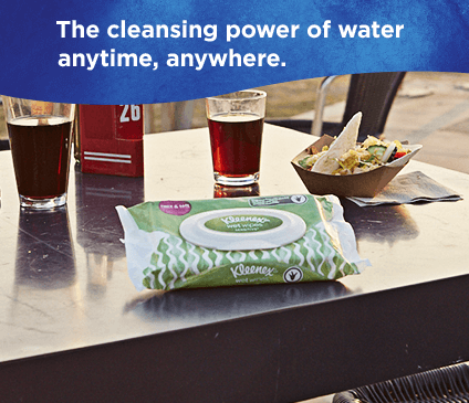 Kleenex Wet Wipe Sensitive have the cleaning power of water for a quick clean at any time.