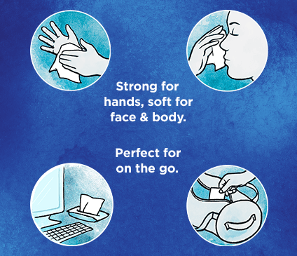 Kleenex Wet Wipes Sensitive are strong for hands and gentle for your face and body.